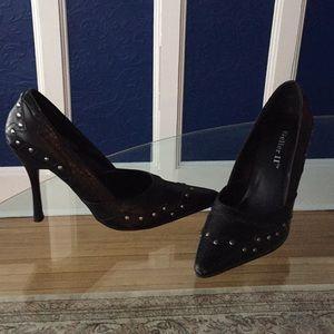 Geller II Black leather high heel with silver